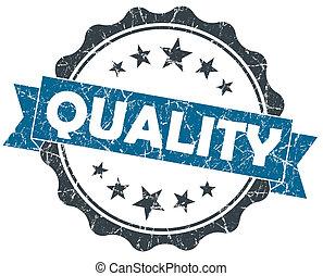 blauwe , grunge, ouderwetse , vrijstaand, zeehondje, witte , kwaliteit