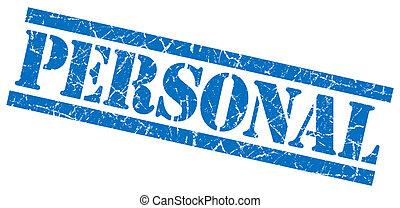 blauwe , grunge, persoonlijk, vrijstaand, postzegel, witte