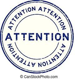 blauwe , grunge, postzegel, aandacht, rubber, achtergrond, zeehondje, witte , ronde