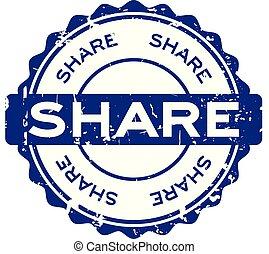 blauwe , grunge, postzegel, aandeel, rubber, achtergrond, zeehondje, witte , ronde