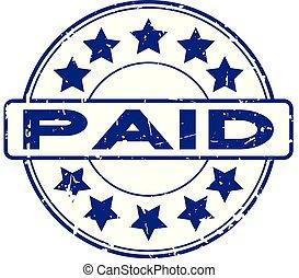 blauwe , grunge, postzegel, betaald, rubber, achtergrond, zeehondje, ster, witte , ronde, pictogram
