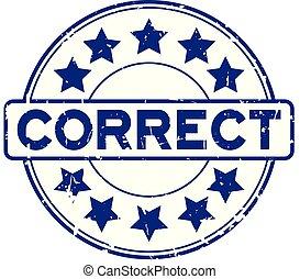 blauwe , grunge, postzegel, correct, rubber, achtergrond, zeehondje, ster, witte , ronde, pictogram