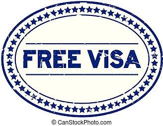 blauwe , grunge, postzegel, kosteloos, rubber, visum, achtergrond, zeehondje, ovaal, witte