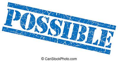 blauwe , grunge, postzegel, mogelijk, vrijstaand, witte