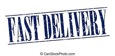 blauwe , grunge, postzegel, ouderwetse , vrijstaand, snelle levering, achtergrond, witte