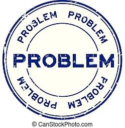 blauwe , grunge, postzegel, ronde, rubber, achtergrond, zeehondje, witte , probleem