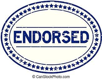 blauwe , grunge, postzegel, rubber, achtergrond, zeehondje, ovaal, witte , endorsed
