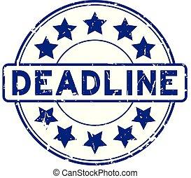 blauwe , grunge, postzegel, rubber, deadline, achtergrond, zeehondje, ster, witte , ronde, pictogram