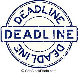 blauwe , grunge, postzegel, rubber, deadline, achtergrond, zeehondje, witte , ronde