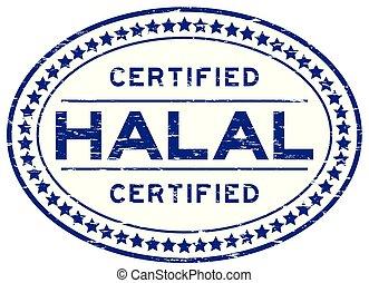 blauwe , grunge, postzegel, rubber, halal, achtergrond, zeehondje, ovaal, witte , verklaard