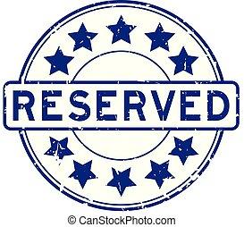 blauwe , grunge, postzegel, rubber, ster, pictogram, ronde, reserveren