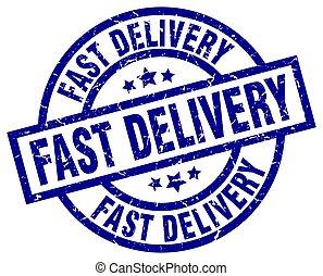 blauwe , grunge, postzegel, snelle levering, ronde