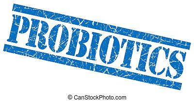 blauwe , grunge, postzegel, vrijstaand, probiotics, witte