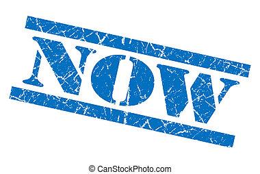 blauwe , grunge, postzegel, vrijstaand, witte , nu