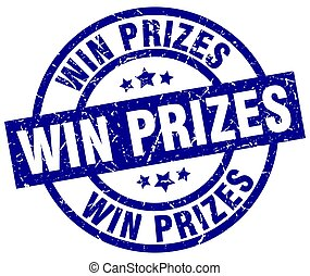 blauwe , grunge, postzegel, winnen, prijzen, ronde
