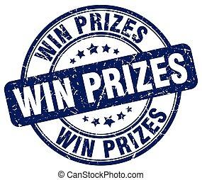 blauwe , grunge, postzegel, winnen, rubber, prijzen, ouderwetse , ronde