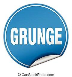 blauwe , grunge, sticker, vrijstaand, witte , ronde