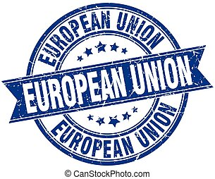 blauwe , grunge, unie, ouderwetse , postzegel, ronde, lint, europeaan