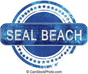 blauwe , grunge, vrijstaand, stamp., white., bezegelen strand