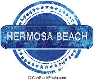 blauwe , grunge, vrijstaand, stamp., white., strand, hermosa