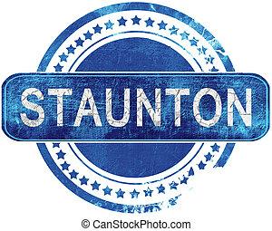 blauwe , grunge, vrijstaand, white., stamp.