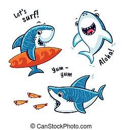 blauwe haai, set, karakter, vrijstaand, achtergrond, witte...