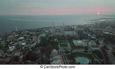 blauwe , hagia, luchtopnames, beeldmateriaal, moskee, istanbul., sultanahmet, plein, sophia