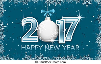 blauwe , hangend, bow., jaar, nieuw, 2017, spandoek, bauble