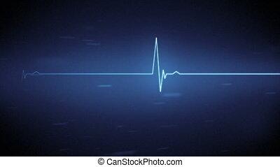 blauwe , hart beeldscherm, lijn, met, verhuizing
