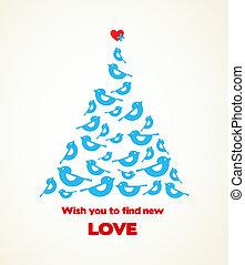 blauwe , hart, bovenzijde, boompje, kerstmis, wensen, vogel