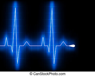 blauwe , hart, ekg, graph., eps, beat., 8