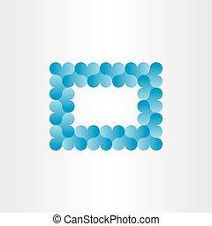 blauwe , hart, frame, vector, achtergrond, kaart
