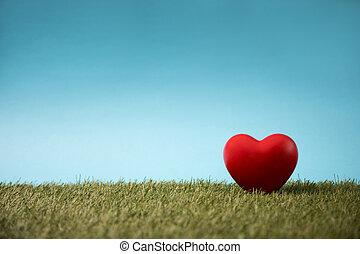 blauwe , hart, hemel, groen gras, rood