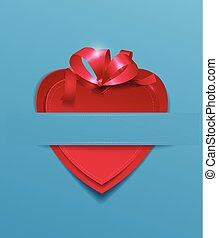 blauwe , hart, licht, papier, lint, achtergrond, rood