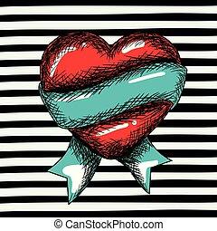 blauwe , hart, schets, kunst, ongeveer, knallen, black , lint, achtergrond, gestreepte , rood