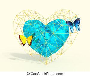 blauwe , hart, stijl, butterflies., poly, gele, laag
