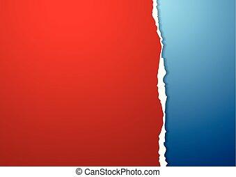 blauwe , haveloze rand, papier, achtergrond, rood