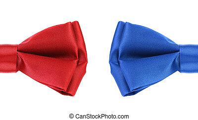 blauwe , helft, tie., rode boog