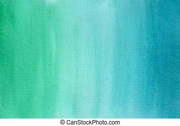 blauwe , helling, horizontaal, watercolor, groene