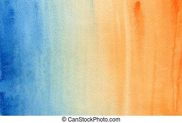 blauwe , helling, horizontaal, watercolor, sinaasappel