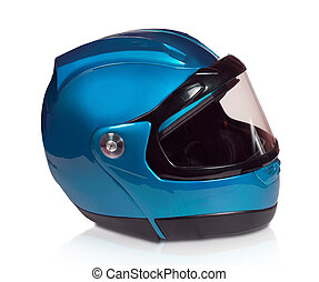 blauwe , helm, motorfiets, licht
