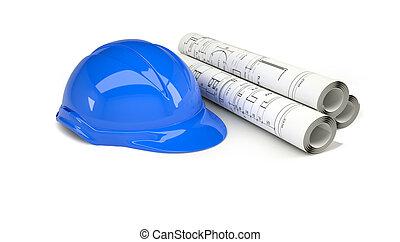 blauwe , helm, rollen, werkjes