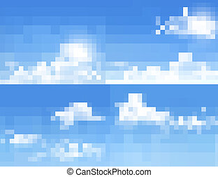 blauwe hemel, achtergronden, verzameling, clouds., vector, backgrounds.