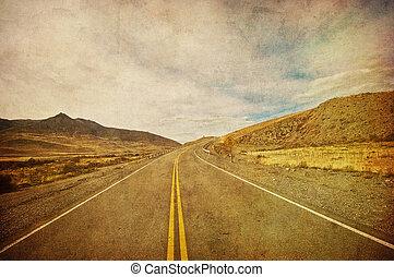 blauwe hemel, beeld, grunge, snelweg