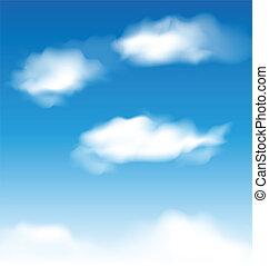 blauwe hemel, behang, wolken, realistisch