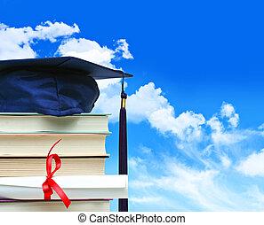blauwe hemel, diploma, tegen, boekjes , stapel