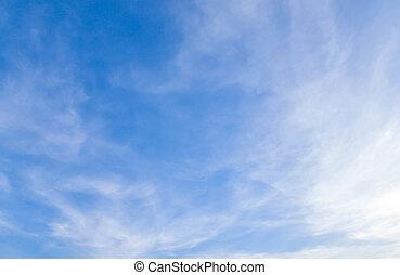 blauwe hemel, duidelijk, wolken, witte