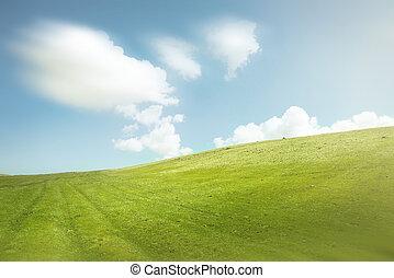 blauwe hemel, en, groene heuvels