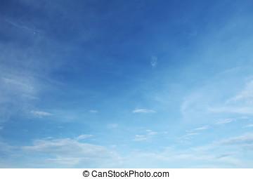 blauwe hemel, en, wite wolken