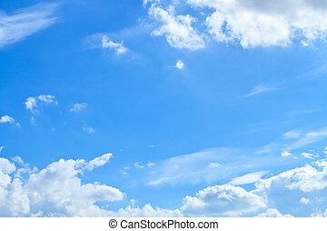 blauwe hemel, en, witte wolk